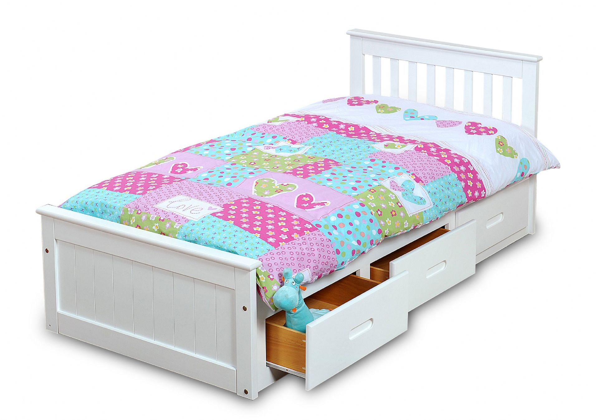 White Mission Children S 3ft Single Wooden Bed With 3